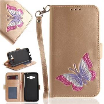 Imprint Embossing Butterfly Leather Wallet Case for Samsung Galaxy J3 2016 J320 - Golden