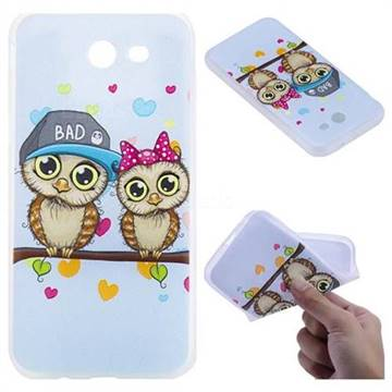 Couple Owls 3D Relief Matte Soft TPU Back Cover for Samsung Galaxy J3 2017 Emerge US Edition