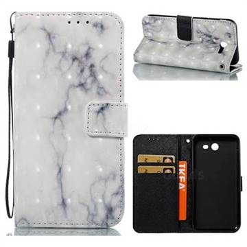 White Gray Marble 3D Painted Leather Wallet Case for Samsung Galaxy J3 2017 Emerge