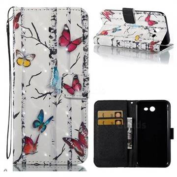 Colored Butterflies 3D Painted Leather Wallet Case for Samsung Galaxy J3 2017 Emerge US Edition