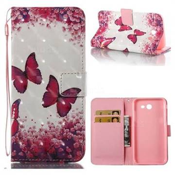 Rose Butterfly 3D Painted Leather Wallet Case for Samsung Galaxy J3 2017 Emerge US Edition