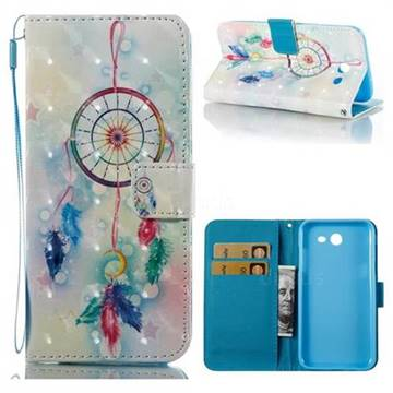Feather Wind Chimes 3D Painted Leather Wallet Case for Samsung Galaxy J3 2017 Emerge US Edition