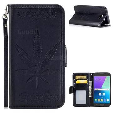 Intricate Embossing Maple Leather Wallet Case for Samsung Galaxy J3 2017 Emerge US Edition - Black