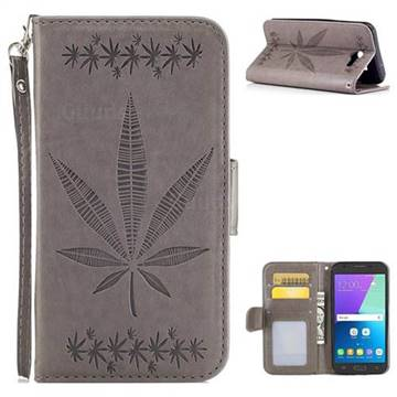 Intricate Embossing Maple Leather Wallet Case for Samsung Galaxy J3 2017 Emerge US Edition - Gray