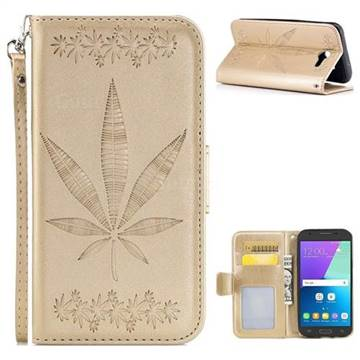 Intricate Embossing Maple Leather Wallet Case for Samsung Galaxy J3 2017 Emerge US Edition - Champagne