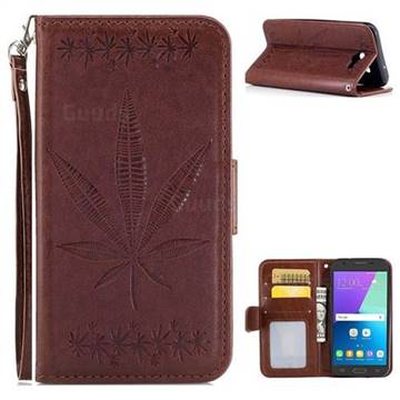 Intricate Embossing Maple Leather Wallet Case for Samsung Galaxy J3 2017 Emerge US Edition - Brown