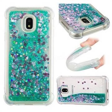 Dynamic Liquid Glitter Sand Quicksand TPU Case for Samsung Galaxy J3 2017 J330 Eurasian - Green Love Heart