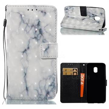 White Gray Marble 3D Painted Leather Wallet Case for Samsung Galaxy J3 2017 J330