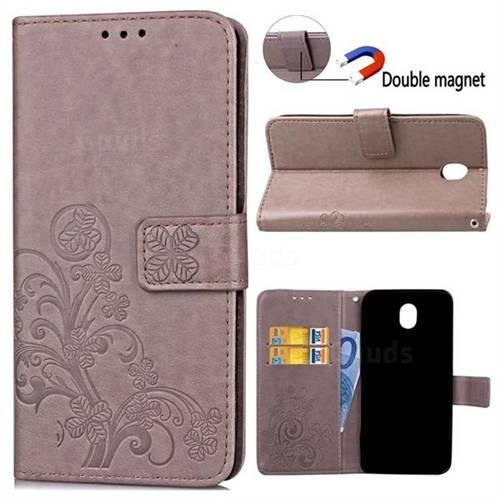 Embossing Imprint Four-Leaf Clover Leather Wallet Case for Samsung Galaxy J3 2017 J330 - Grey