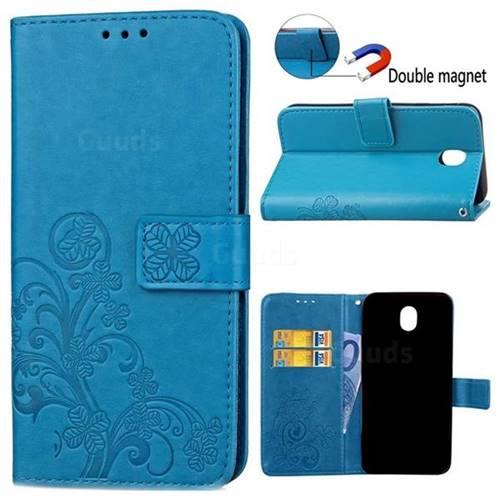 Embossing Imprint Four-Leaf Clover Leather Wallet Case for Samsung Galaxy J3 2017 J330 - Blue
