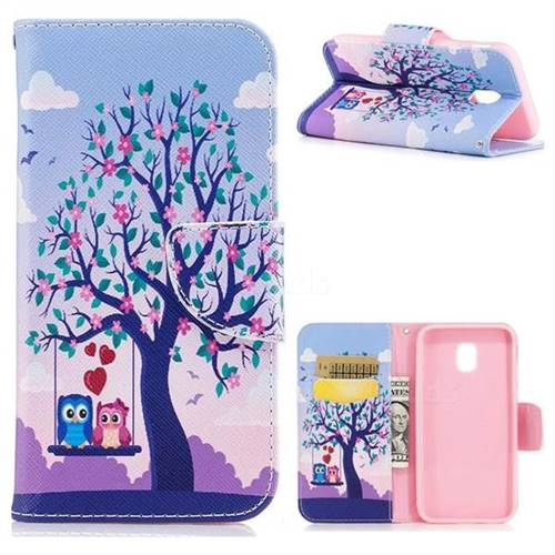 Tree and Owls Leather Wallet Case for Samsung Galaxy J3 2017 J330