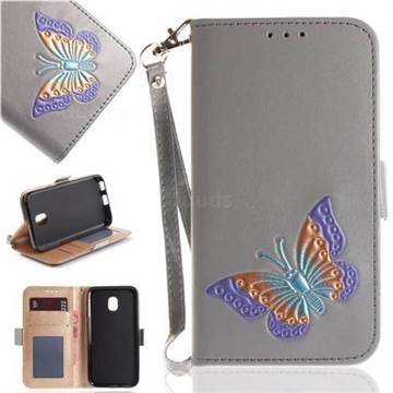 Imprint Embossing Butterfly Leather Wallet Case for Samsung Galaxy J3 2017 J330 Eurasian - Grey