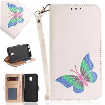 Imprint Embossing Butterfly Leather Wallet Case for Samsung Galaxy J3 2017 J330 Eurasian - White