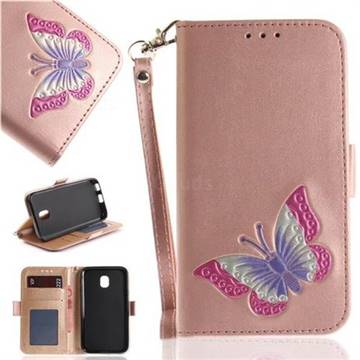 Imprint Embossing Butterfly Leather Wallet Case for Samsung Galaxy J3 2017 J330 Eurasian - Rose Gold