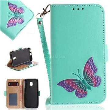 Imprint Embossing Butterfly Leather Wallet Case for Samsung Galaxy J3 2017 J330 Eurasian - Mint Green