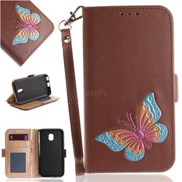 Imprint Embossing Butterfly Leather Wallet Case for Samsung Galaxy J3 2017 J330 Eurasian - Brown