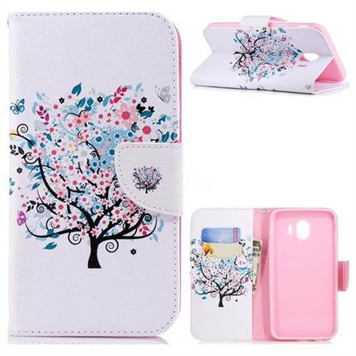 Colorful Tree Leather Wallet Case for Samsung Galaxy J4 (2018) SM-J400F
