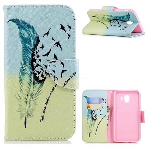 Feather Bird Leather Wallet Case for Samsung Galaxy J4 (2018) SM-J400F
