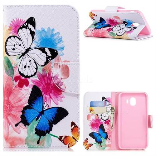 Vivid Flying Butterflies Leather Wallet Case for Samsung Galaxy J4 (2018) SM-J400F