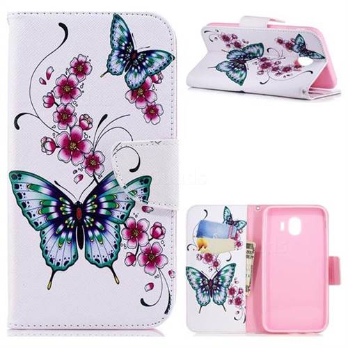 Peach Butterfly Leather Wallet Case for Samsung Galaxy J4 (2018) SM-J400F