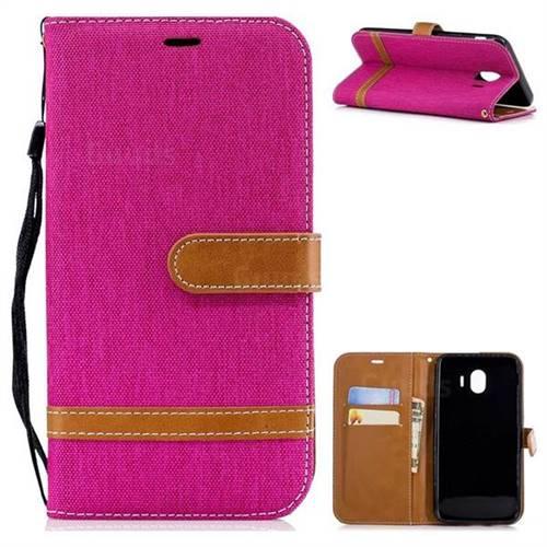 Jeans Cowboy Denim Leather Wallet Case for Samsung Galaxy J4 (2018) SM-J400F - Rose