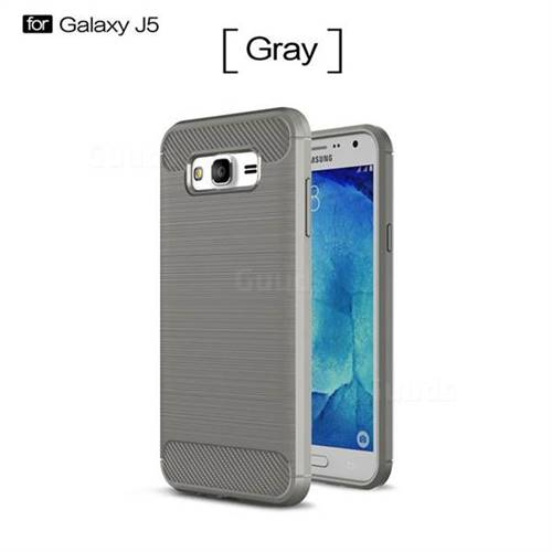 Luxury Carbon Fiber Brushed Wire Drawing Silicone TPU Back Cover for Samsung Galaxy J5 2015 J500 (Gray)