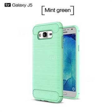 Luxury Carbon Fiber Brushed Wire Drawing Silicone TPU Back Cover for Samsung Galaxy J5 2015 J500 (Mint Green)