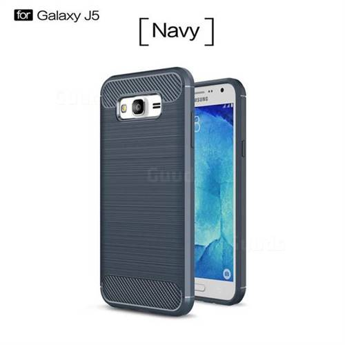 Luxury Carbon Fiber Brushed Wire Drawing Silicone TPU Back Cover for Samsung Galaxy J5 2015 J500 (Navy)