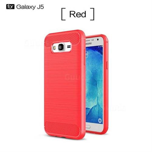 Luxury Carbon Fiber Brushed Wire Drawing Silicone TPU Back Cover for Samsung Galaxy J5 2015 J500 (Red)