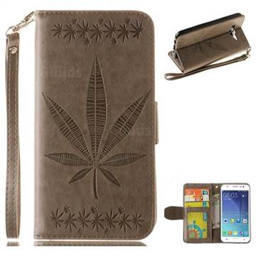 Intricate Embossing Maple Leather Wallet Case for Samsung Galaxy J5 2015 J500 - Gray