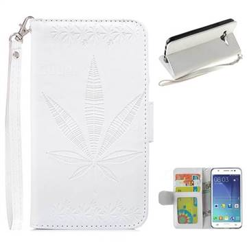 Intricate Embossing Maple Leather Wallet Case for Samsung Galaxy J5 2015 J500 - White