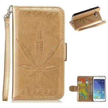 Intricate Embossing Maple Leather Wallet Case for Samsung Galaxy J5 2015 J500 - Champagne