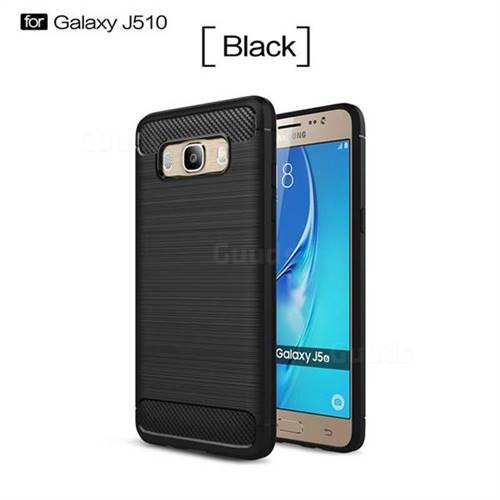 Luxury Carbon Fiber Brushed Wire Drawing Silicone TPU Back Cover for Samsung Galaxy J5 2016 J510 (Black)