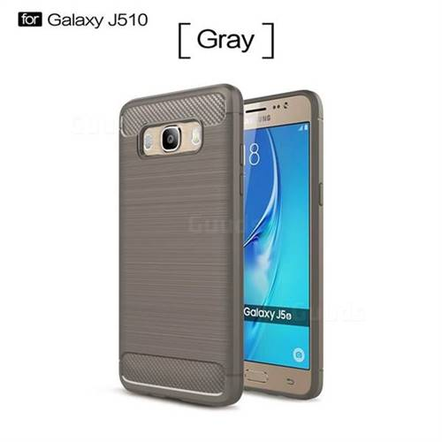 Luxury Carbon Fiber Brushed Wire Drawing Silicone TPU Back Cover for Samsung Galaxy J5 2016 J510 (Gray)