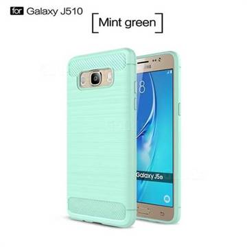 Luxury Carbon Fiber Brushed Wire Drawing Silicone TPU Back Cover for Samsung Galaxy J5 2016 J510 (Mint Green)