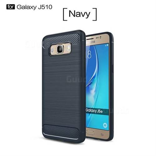 Luxury Carbon Fiber Brushed Wire Drawing Silicone TPU Back Cover for Samsung Galaxy J5 2016 J510 (Navy)