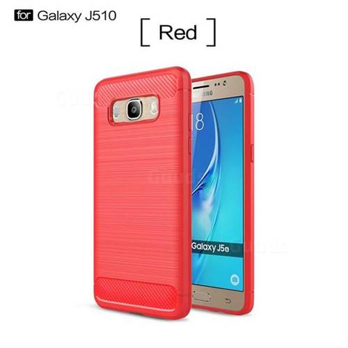 Luxury Carbon Fiber Brushed Wire Drawing Silicone TPU Back Cover for Samsung Galaxy J5 2016 J510 (Red)