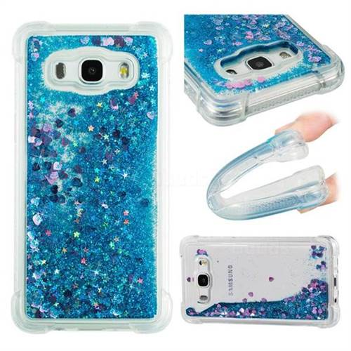 Dynamic Liquid Glitter Sand Quicksand TPU Case for Samsung Galaxy J5 2016 J510 - Blue Love Heart