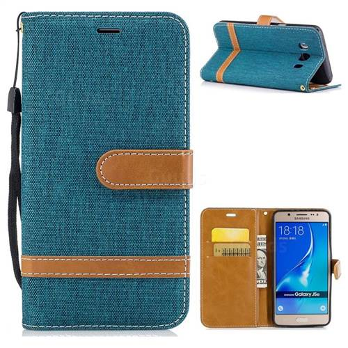 Jeans Cowboy Denim Leather Wallet Case for Samsung Galaxy J5 2016 J510 - Green