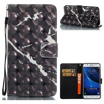 Black Marble 3D Painted Leather Wallet Case for Samsung Galaxy J5 2016 J510