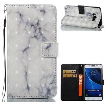 White Gray Marble 3D Painted Leather Wallet Case for Samsung Galaxy J5 2016 J510
