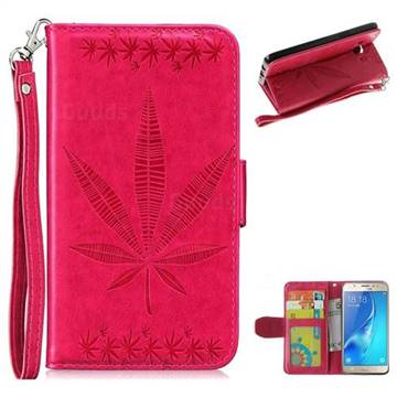 Intricate Embossing Maple Leather Wallet Case for Samsung Galaxy J5 2016 J510 - Rose