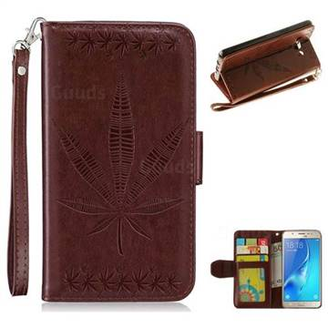 Intricate Embossing Maple Leather Wallet Case for Samsung Galaxy J5 2016 J510 - Brown