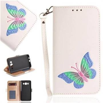 Imprint Embossing Butterfly Leather Wallet Case for Samsung Galaxy J5 2016 J510 - White
