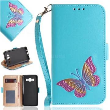 Imprint Embossing Butterfly Leather Wallet Case for Samsung Galaxy J5 2016 J510 - Sky Blue