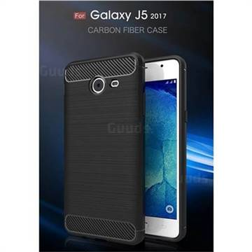 Luxury Carbon Fiber Brushed Wire Drawing Silicone TPU Back Cover for Samsung Galaxy J5 2017 US Edition (Black)