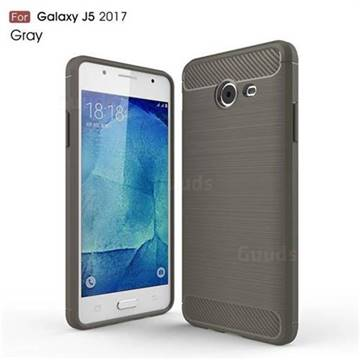 Luxury Carbon Fiber Brushed Wire Drawing Silicone TPU Back Cover for Samsung Galaxy J5 2017 US Edition (Gray)