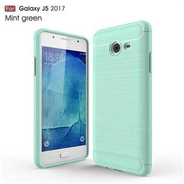 Luxury Carbon Fiber Brushed Wire Drawing Silicone TPU Back Cover for Samsung Galaxy J5 2017 US Edition (Mint Green)