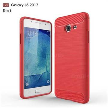 Luxury Carbon Fiber Brushed Wire Drawing Silicone TPU Back Cover for Samsung Galaxy J5 2017 US Edition (Red)