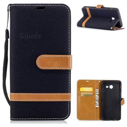 Jeans Cowboy Denim Leather Wallet Case for Samsung Galaxy J5 2017 J5 US Edition - Black